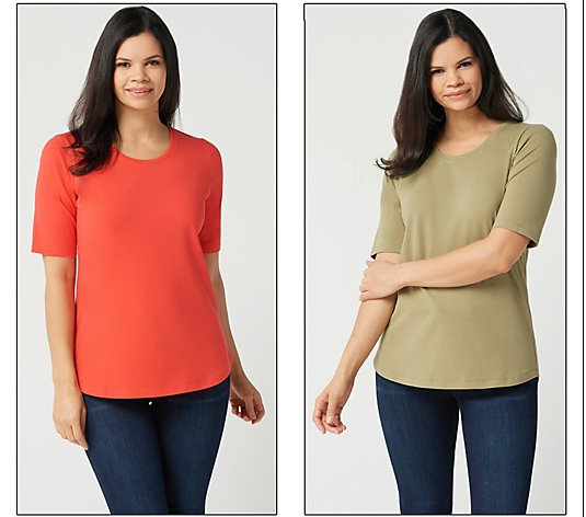 Denim & Co. Essentials Set of Two Elbow Sleeve Knit Tops