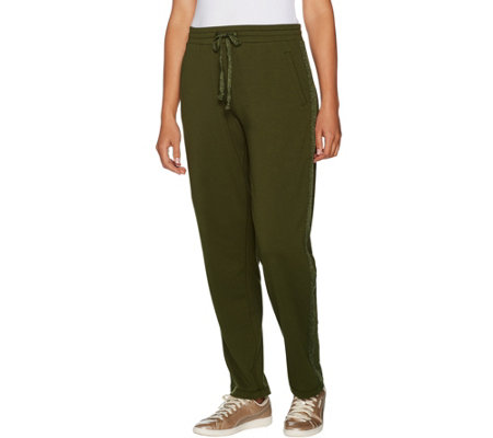 """As Is"" Susan Graver Weekend French Terry Pull-on Pants w/Trim Detail"