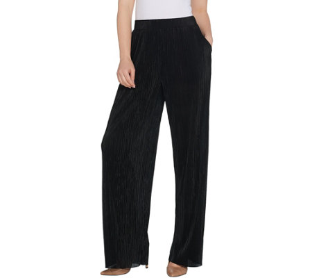 H by Halston Petite Plisse Wide Leg Full-Length Pants