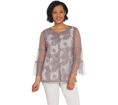 LOGO Lavish by Lori Goldstein Embroidered Mesh Blouse w/ Flounce Sleeve