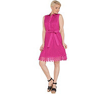 Isaac Mizrahi Live! Eyelet Shirt Dress with Lace Trim - A307999