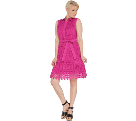Isaac Mizrahi Live! Eyelet Shirt Dress with Lace Trim