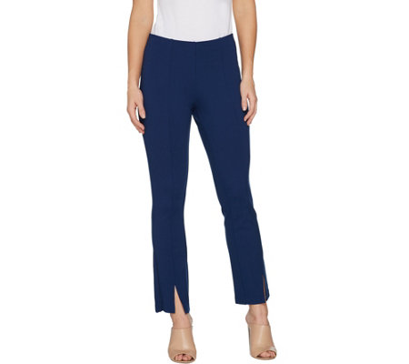 """As Is"" Du Jour Pull-On Ponte Knit Ankle Pants with Front Slit"