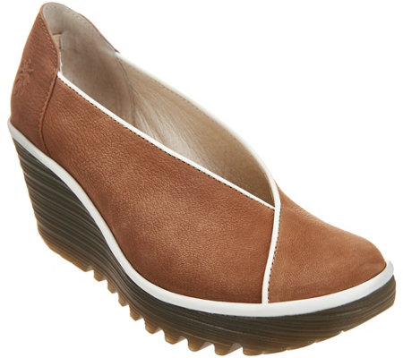 """As Is"" FLY London Leather Slip-on Wedge- Yuca"