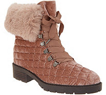 Isaac Mizrahi Live! Velvet and Faux Fur Quilted Hiker Boots - A343599
