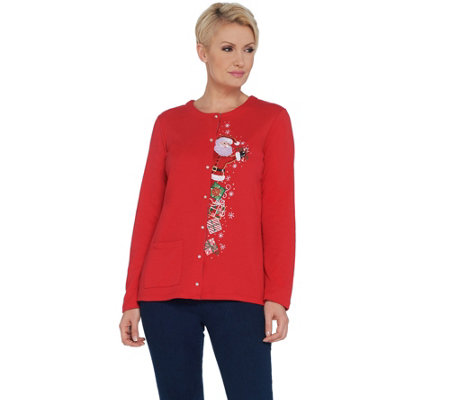 Quacker Factory Snap Button Front Holiday Knit Cardigan