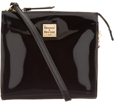 """As Is"" Dooney & Bourke Patent Leather North/ South Crossbody Handbag-Janine"