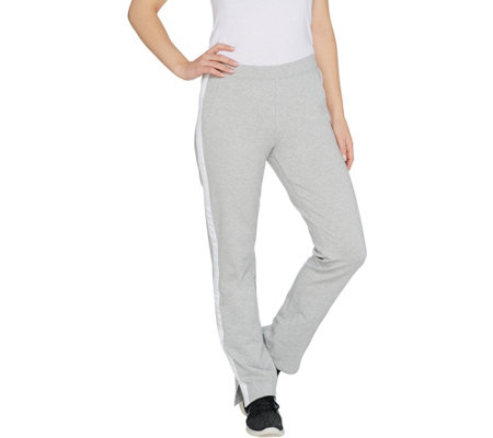 """As Is"" Denim & Co. Active Petite Knit Pants with Contrast Trim"