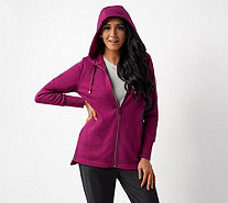 Isaac Mizrahi Live! SOHO Plushed Back Zip-Front Hoodie - A345199