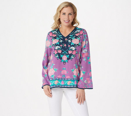 Tolani Collection V Neck Floral Printed Woven Top