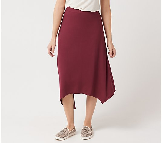 LOGO by Lori Goldstein Knit Pull-On Skirt with Asymmetric Hem