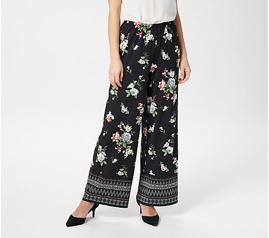 Joan Rivers Petite Mixed Print Pull-On Palazzo Pants