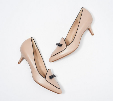 Isaac Mizrahi Live! Leather Bow Pumps with Piping Detail