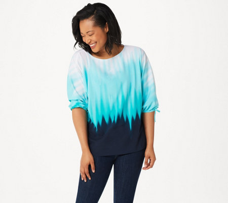 Belle by Kim Gravel Ombre Print Tie Sleeve Top