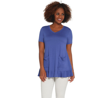 """As Is"" LOGO by Lori Goldstein Crepe Top w/ Short Sleeves and Flounce Hem"