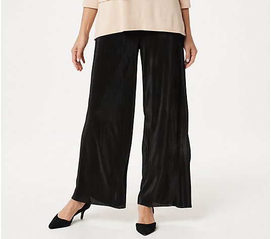 Joan Rivers Petite Solid Accordion Pleat Palazzo Pants