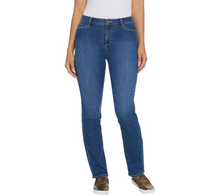 As Is Susan Graver Petite High Stretch Denim Fly Front Jeans