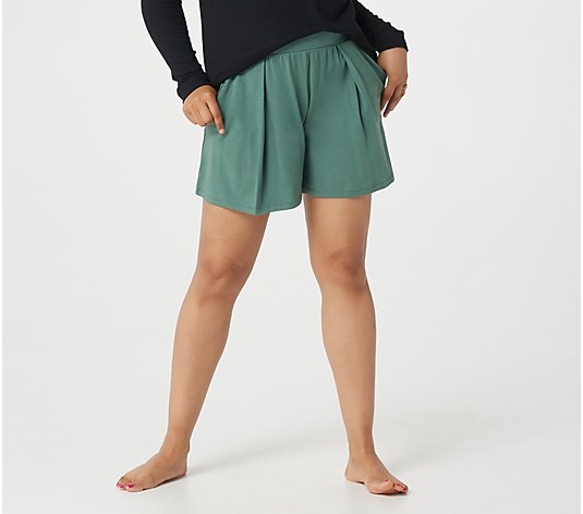 AnyBody Cozy Knit Pleated Shorts