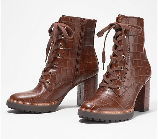Naturalizer Leather Lace Up Boots - Callie