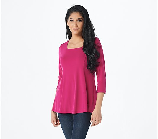 """As Is"" Susan Graver Modern Essentials Liquid Knit Fit & Flare Top"