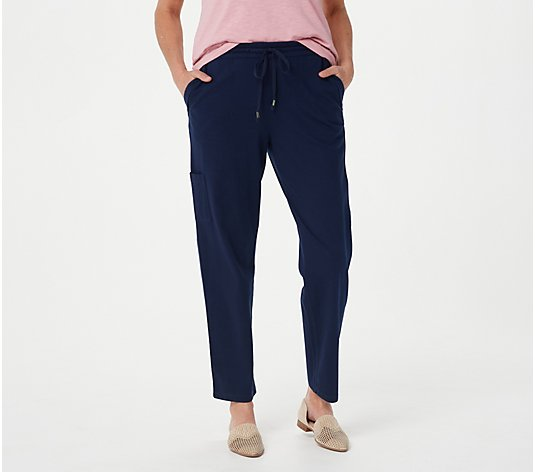 Susan Graver Petite Weekend Essentails Cotton Ankle Pants
