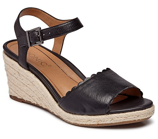 Vionic Leather Espadrille Wedges -  Stephany