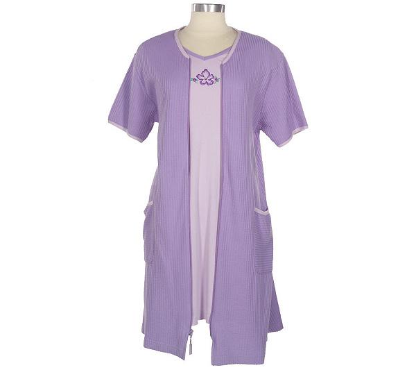 Stan Herman Seersucker Gown and Swing Robe Set - Page 1 — QVC.com