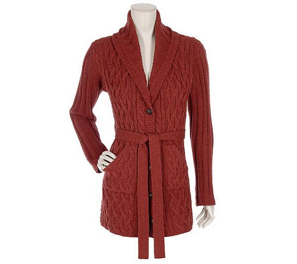 ddab0fbf89 Aran Craft Merino Alpaca Shawl Collar Sweater Coat with Belt - Page ...