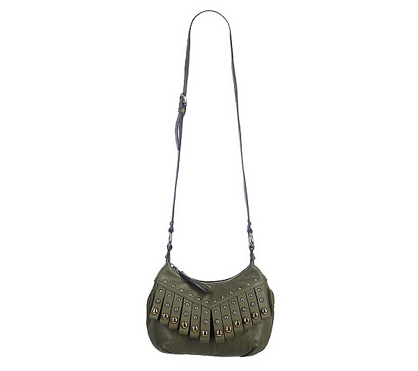 B. Makowsky Glove Leather Zip Top Crossbody Bag w Fringe Detail. Back to  video d17c532064