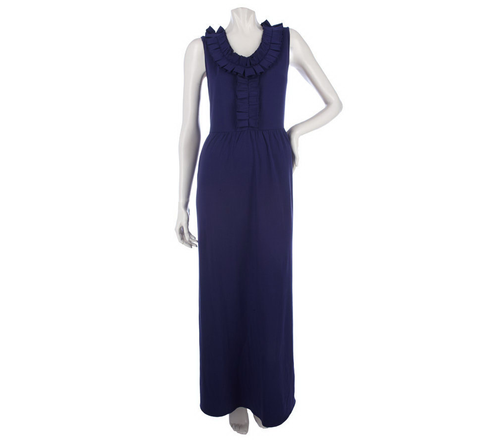 Elisabeth Hasselbeck Knit Maxi Dress With Ruffles Page 1 Qvc Com