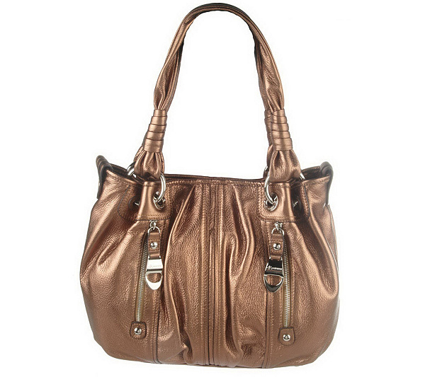 B Makowsky Pebble Leather Medium Tote Bag With Zipper Pockets Page 1 Qvc