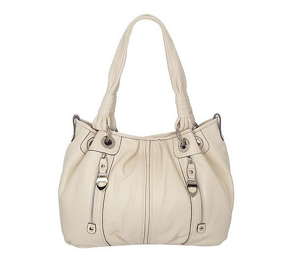 B Makowsky Pebble Leather Large Tote Bag With Zipper Pockets Page 1 Qvc