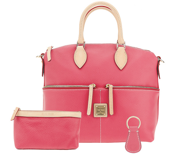 3c46bbf5e2 Dooney   Bourke Leather Satchel with Accessories - Page 1 — QVC ...