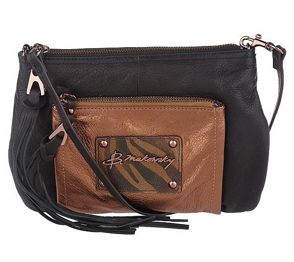 B Makowsky Metallic And Glove Leather Zip Top Crossbody Bag Page 1 Qvc