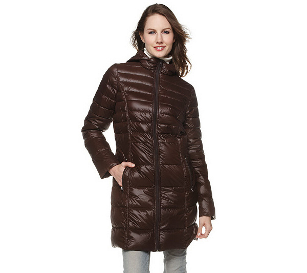 Bernardo Packable Long Down Coat with Hood - Page 1 — QVC.com 3b8ac70d6