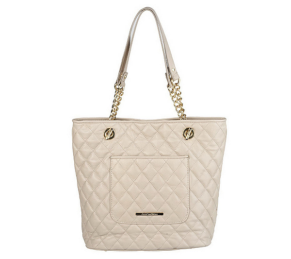Quilted Leather Tote With Chain Detail Product Thumbnail In Stock