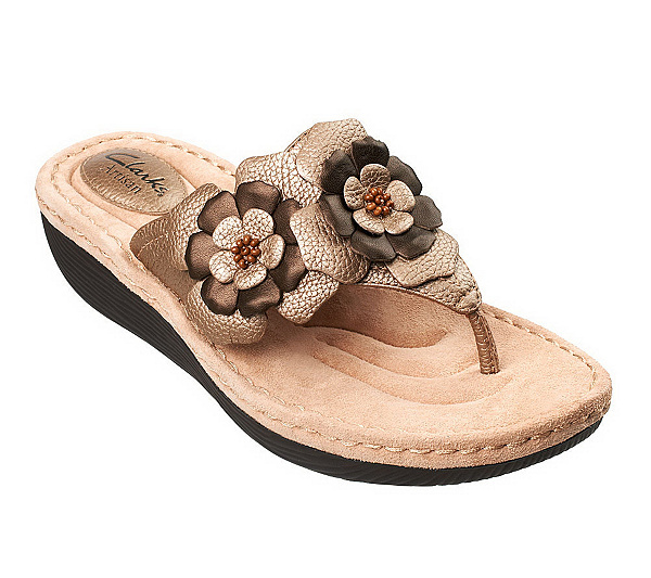 17467d4d2cee2 Clarks Artisan Latin Flower Leather Thong Sandals - Page 1 — QVC ...
