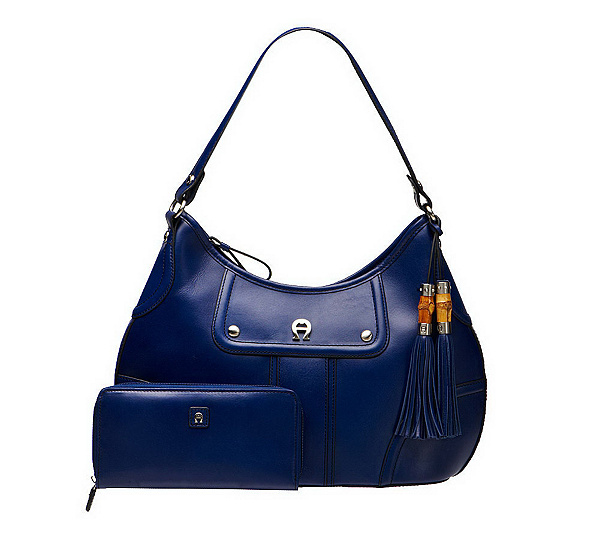 Etienne Aigner Leather Hobo Bag w  Zip Closure   Leather Wallet. Back to  video d35b1f450e