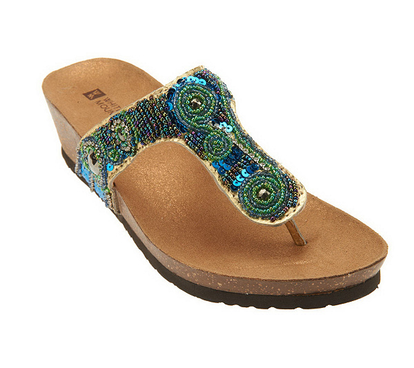 2a716855539c4 White Mountain Bright Beaded Thong Sandals on Cork Bottom. Back to video
