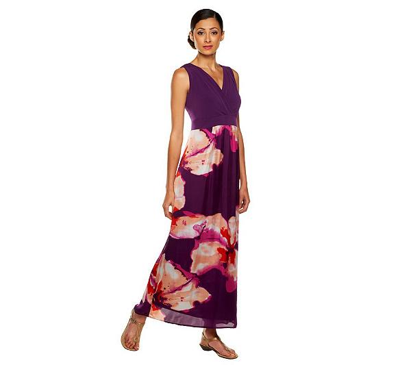 Susan Graver Floral Print Charmeuse V Neck Maxi Dress Page 1 Qvc Com