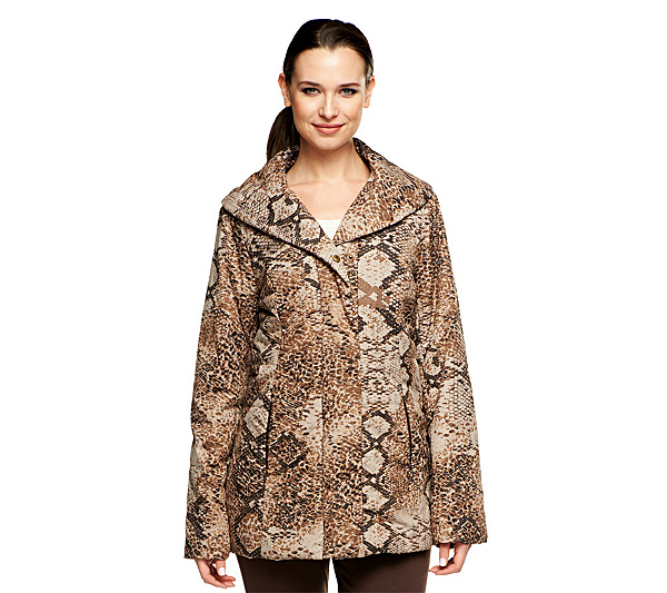 89196f004 Dennis Basso Animal Print Quilted Coat with Faux Fur Lining - Page 1 ...