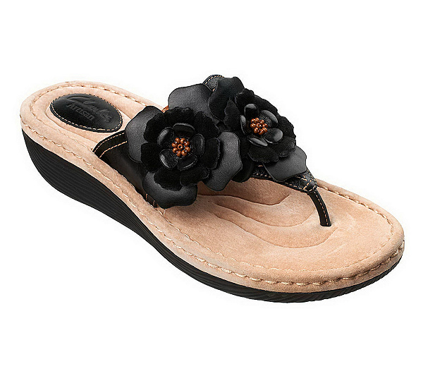 d2ec420e81267 ... Clarks Artisan Latin Flower Leather Thong Sandals. product thumbnail.  In Stock