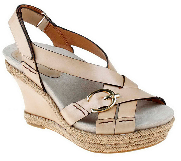 f3cc5389475d Earthies Salerno Too Leather Wedge Sandals with Buckle Detail. Back to video