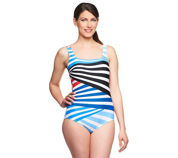1b9a94d09d05 Silver by Gottex Stripes Mania 1-Piece Swimsuit — QVC.com