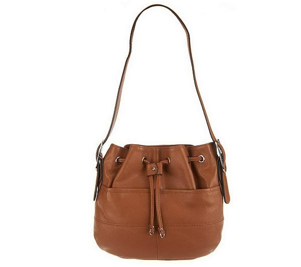 """""""As Is """" Tignanello Pebble Leather Drawstring Hobo Bag — QVC.com a94cf45984c5b"""