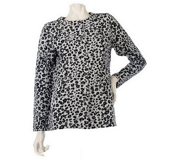 89847fb82f02 Long Sleeve Animal Print Snap Front Cardigan. product thumbnail. In Stock
