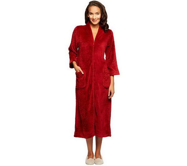 382d7bf9f0 Stan Herman Medallion Zip Front Plush Robe with Bracelet Sleeve. Back to  video