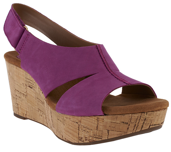 81fbdf72896 Clarks Artisan Caslynn Lizzie Leather Wedge Sandals with Back Strap.  product thumbnail. In Stock