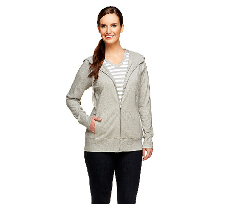 5cc2e50340c Denim   Co. Active French Terry Jacket and Knit Striped Top Set - Page 1 —  QVC.com