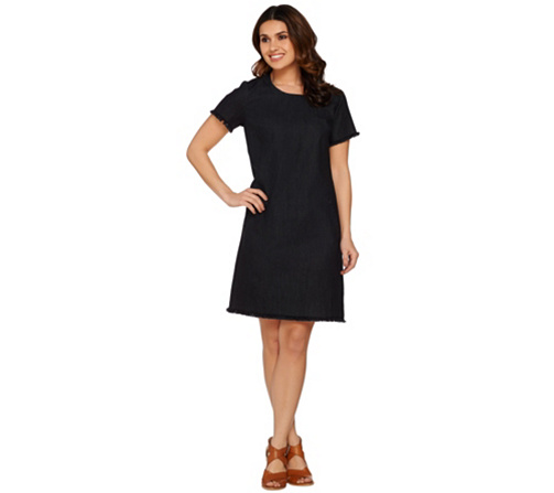 C Wonder Short Sleeve Denim Dress With Trim Details Page 1 Qvc